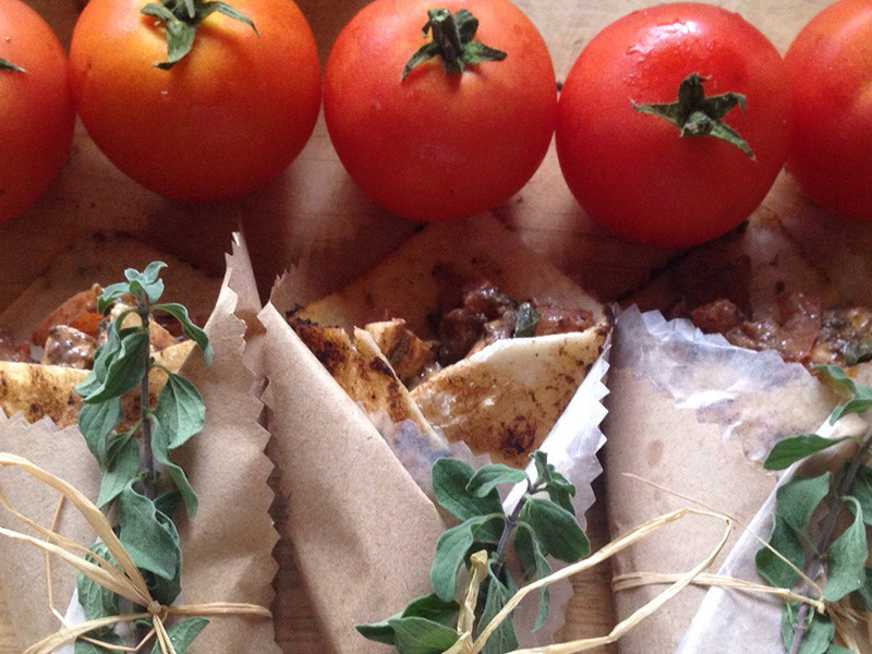 Wrap de auyama con pollo thai
