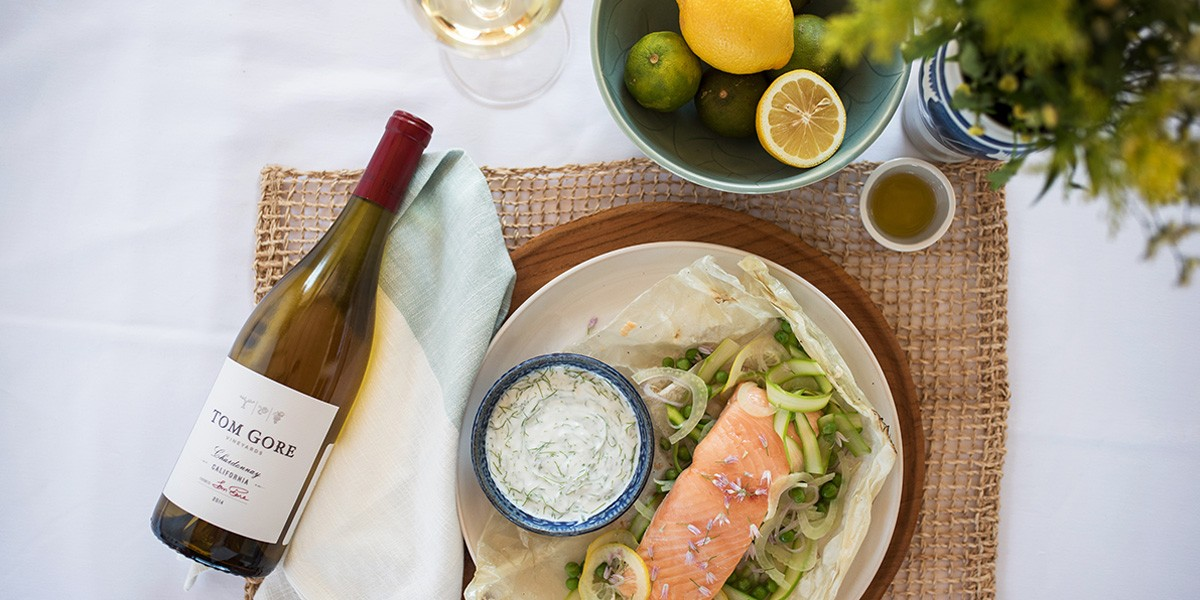 Tom-Gore-Vineyards-Spring-Parchment-Baked-Salmon-with-Fennel-Yogurt-Sauce