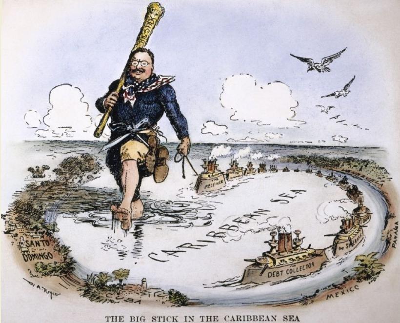 """Sátira de 1904 del caricaturista William Allen Roger en la que recrea los """"Viajes de Gulliver"""" con la política del """"Gran Garrote"""" de Theodore Rooselvelt / Foto: Wiki Commons"""