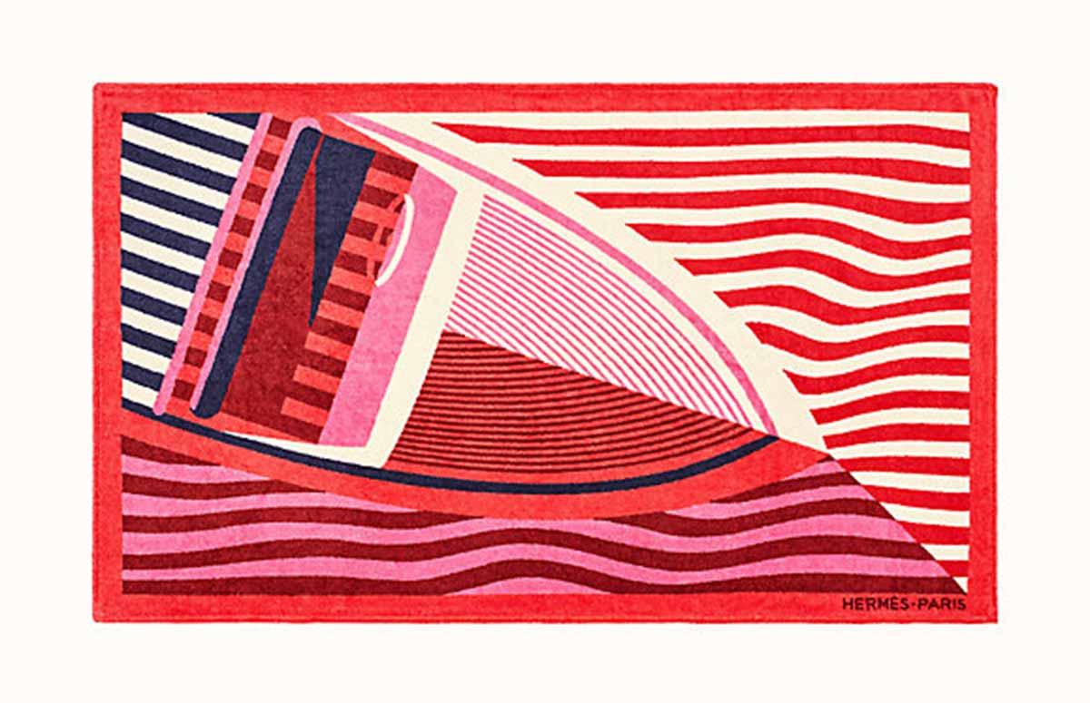Hermes-repos-sur-l-eau-beach-towel-red