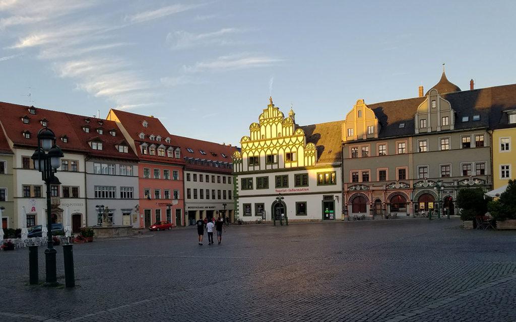La plaza del mercado en Weimar-alemania